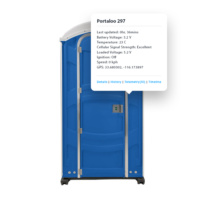 Blue Portaloo with tracking details